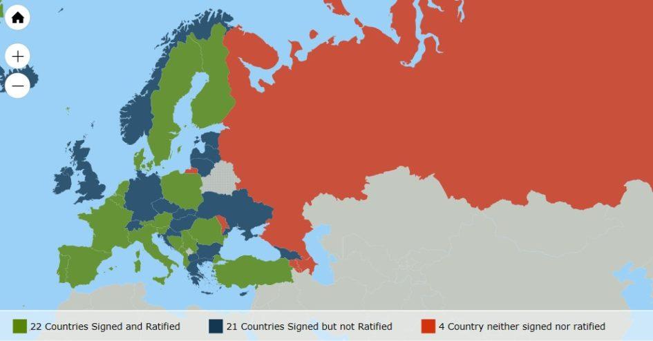 Mappa dei paesi aderenti alla Convenzione di Istanbul a dicembre 2016