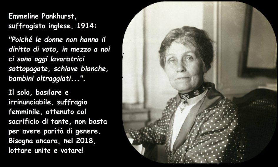 Emmeline Pankhurst suffragista inglese sufragist quote citazione elezioni